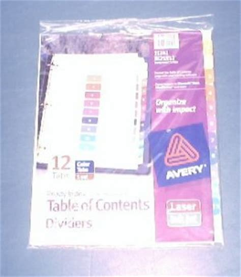 avery ready index template 12 tab avery 174 ready index 174 table of contents dividers 11141 12