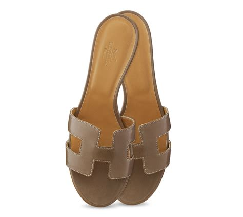 hermes womens sandals herm 232 s oasis leather sandals in brown beige lyst