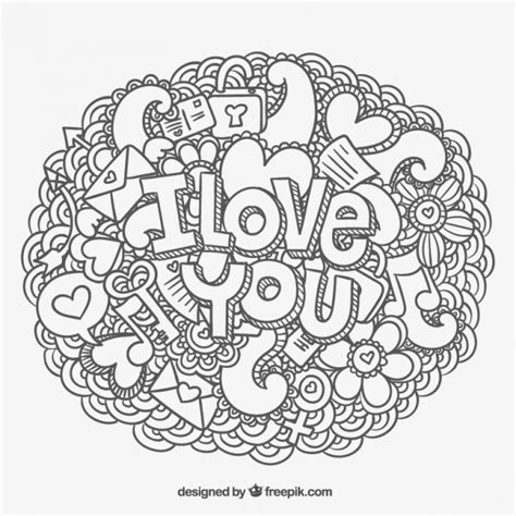doodle i you i you message and doodles vector free