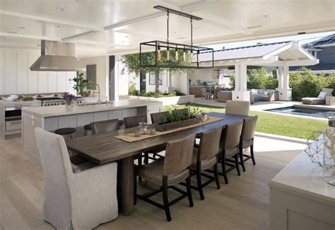 Chrome Kitchen Island Kitchen Open To Dining Room Dining Room Transitional With