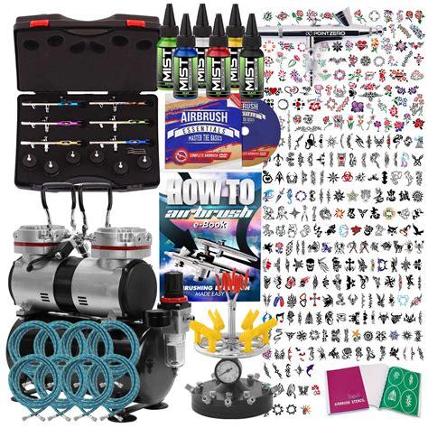 airbrush tattoo kit ebay temporary tattoo airbrush kit 6 gun set with compressor