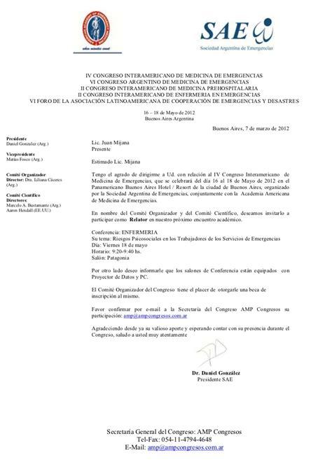 modelo carta de invitacion a conferencia invitaci 243 n congreso de emergencias