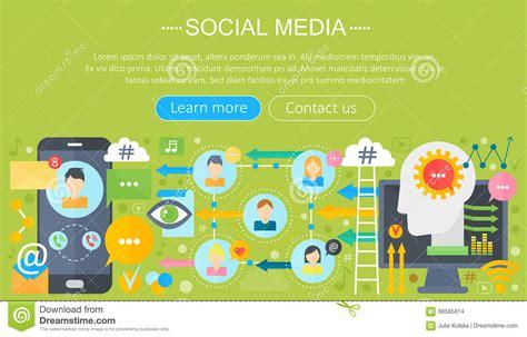 design header social media advertising media flat design icons vector illustration