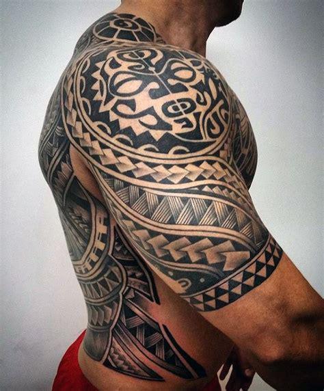 hawaiian tribal half sleeve tattoos 75 half sleeve tribal tattoos for masculine design ideas