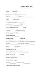 printable lyrics eye of the tiger english teaching worksheets clozes
