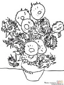 gogh coloring book sunflowers by vincent gogh coloring page free