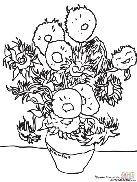 coloring pages vincent van gogh sunflowers by vincent van gogh coloring page free