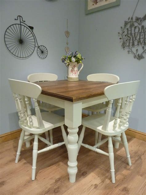Shabby Chic Dining Tables And Chairs Bespoke Handmade Shabby Chic Farmhouse Small Square Dining Table And 4 Chairs Ebay