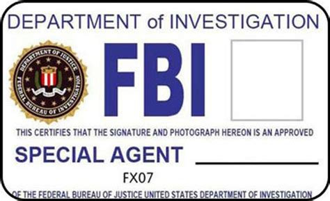 Fbi Id Card Template Free by Items Similar To Fbi Id Badge Department Of Investigation