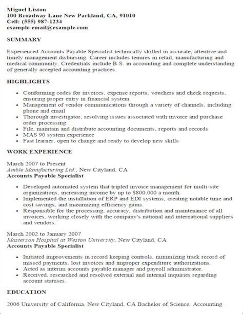 Accounts Payable Specialist Resume Sles Resume Templates Accounting Finance Resume Template Livecareer