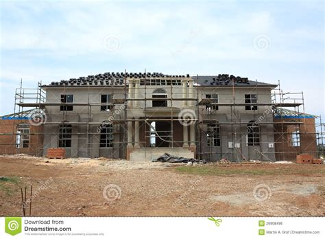 Manor house construction stock photo. Image of house