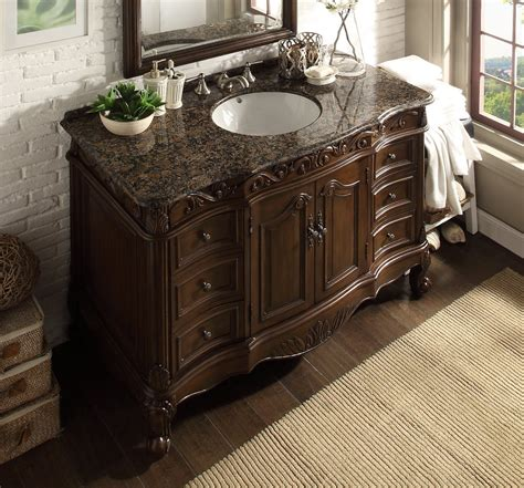 48 Inch Bathroom Vanity With Granite Top Adelina 48 Inch Classic Look Bathroom Vanity Brown Granite Top