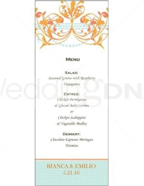 wedding buffet menu template orange chandelier menu