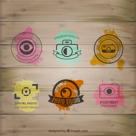 photography logo design free download watercolor photography logos on wood vector free download