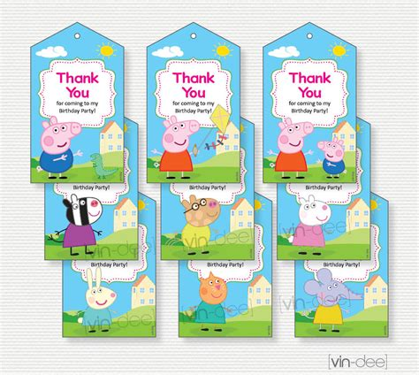 thank you card template for birthday giveaways peppa pig thank you favor tags pink 9 designs instant