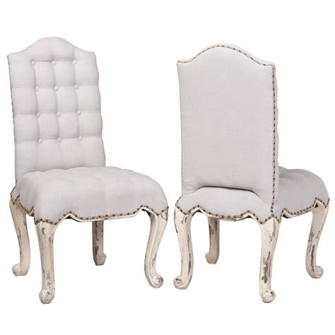 nailhead cabriole dining chair white tufted french