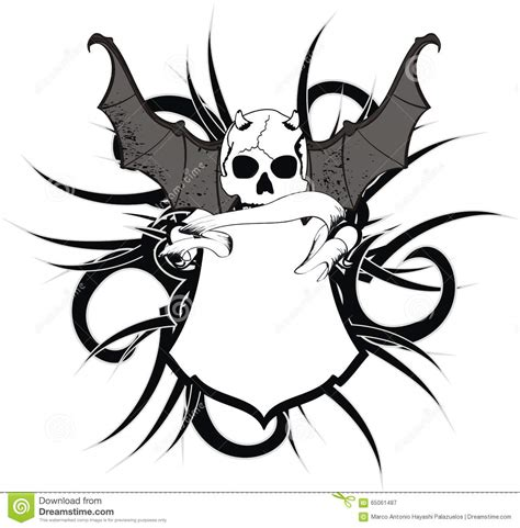 skull bat wings sticker tattoo shield stock vector image