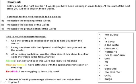 english homework sheets year 7 homework year 7 spanish page 2