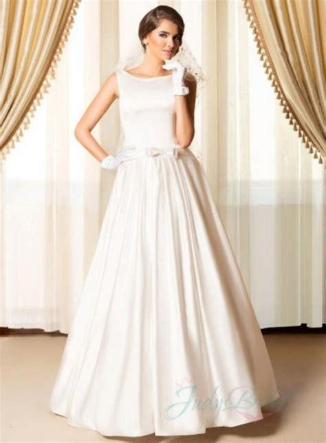 Bateau Wedding Dress by Simply Chic Bateau Neck Plain Satin Wedding Dresses