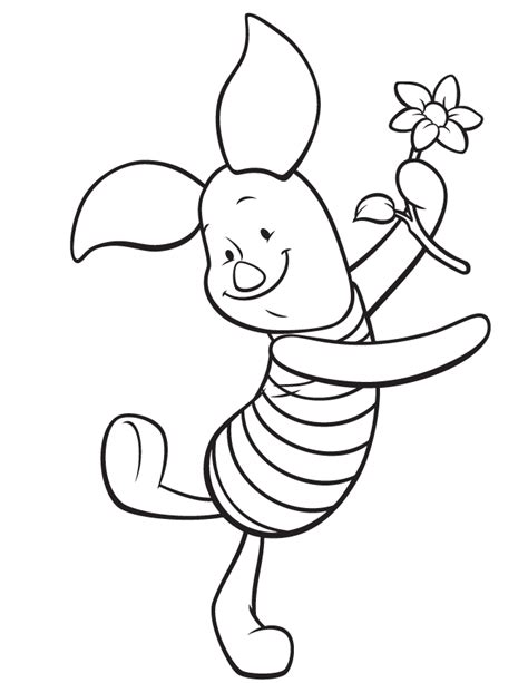 cute piglet holding flower coloring page h m coloring