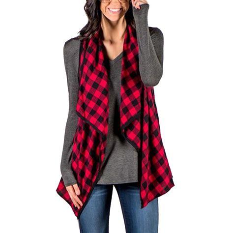 Vest Cardigan Batik Fashionnable 2017 plaid checks vest jacket fashion laple sleeveless cardigan outwear