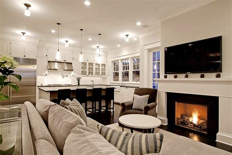 open plan kitchen family room ideas kitchen family room transitional living room benjamin morning dew paul moon design