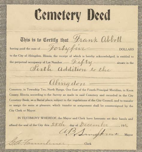 cemetery plot deed template pictures to pin on pinterest