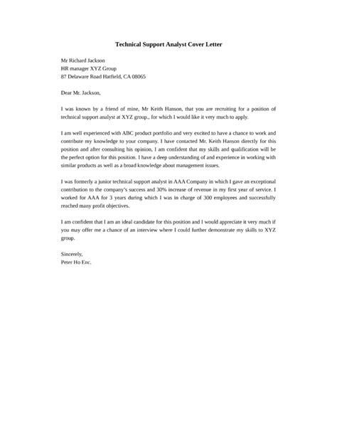 Technical Cover Letter by Technical Support Analyst Cover Letter Sles And Templates