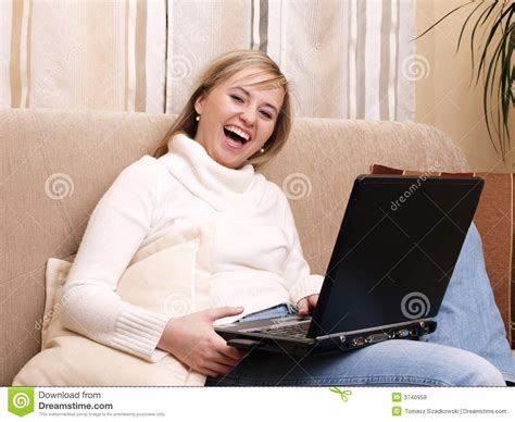 student sofa smiling female student on the sofa royalty free stock