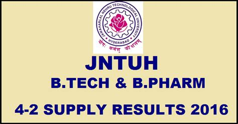 Jntu Mba 1st Sem Results 2016 Manabadi by Jntuh B Tech B Pharm 4 2 Supply Results 2016 For R09