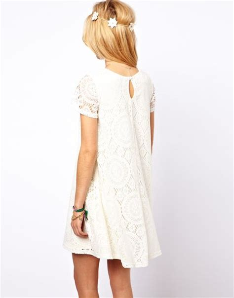 cream lace swing dress asos lace swing dress with kaleidoscope pattern in white