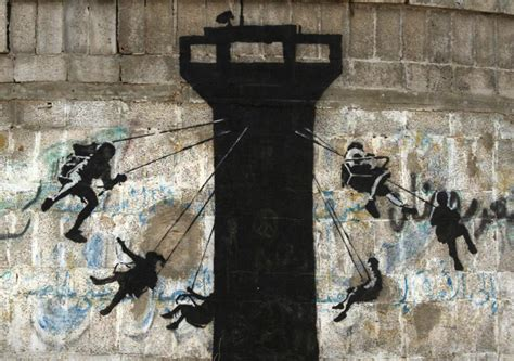 banksy sets  latest street interventions  war torn gaza