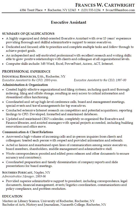 executive assistant resume resume for an executive assistant susan ireland resumes