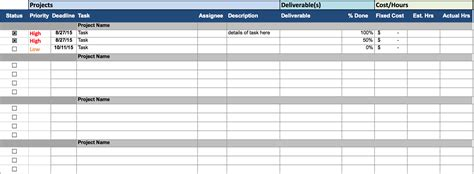 project management spreadsheet template excel management