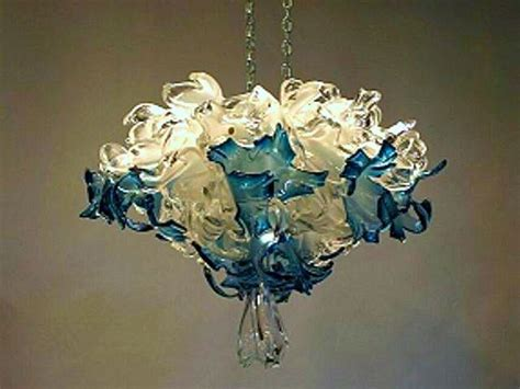 Artisan Chandelier Blue Blown Glass Chandelier Artisan Crafted Lighting