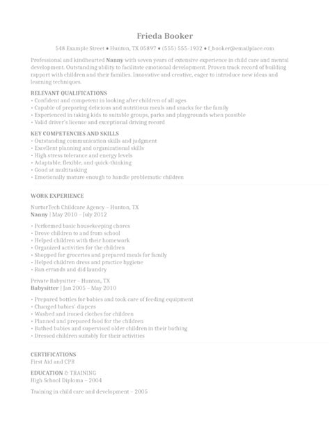 nannying resume ideas nanny on resume nanny interesting nanny resume exles for sle
