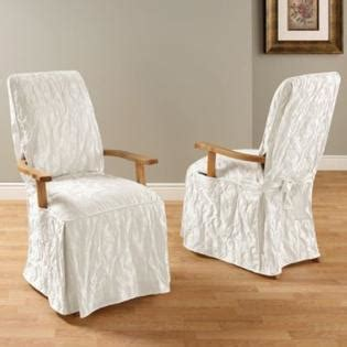Dining Room Chair Slipcovers With Arms by Sure Fit Matelasse Damask Dining Room Chair With Arms