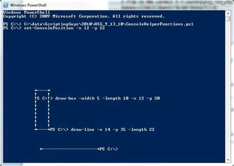 powershell comment section draw boxes and lines in the windows powershell console