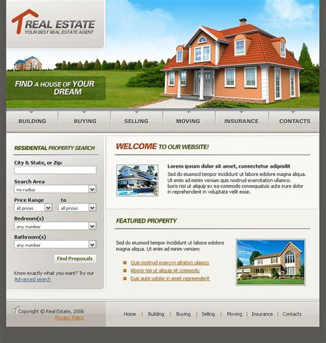 templates for real estate website real estate agency website template 11169