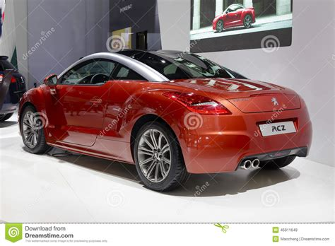 peugeot red red french peugeot rcz car rear view editorial stock image
