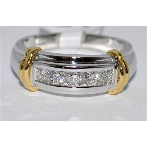 0 5ct mens wedding band ring solid 14k two tone