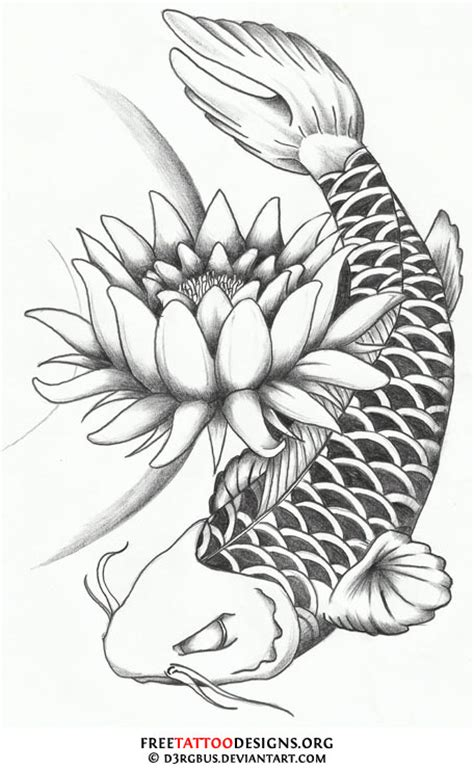 lotus flower and dragon koi fish tattoo design