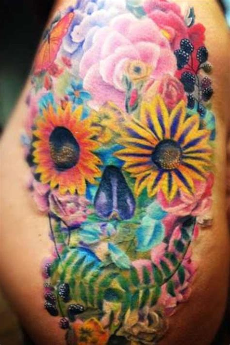 flower sugar skull tattoo designs my floral sugar skull done by fred tattooempire