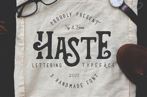 Handmade Fonts Free - haste 3 handmade font by try error studio