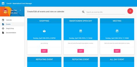 mean stack full calender for events using angularjs with
