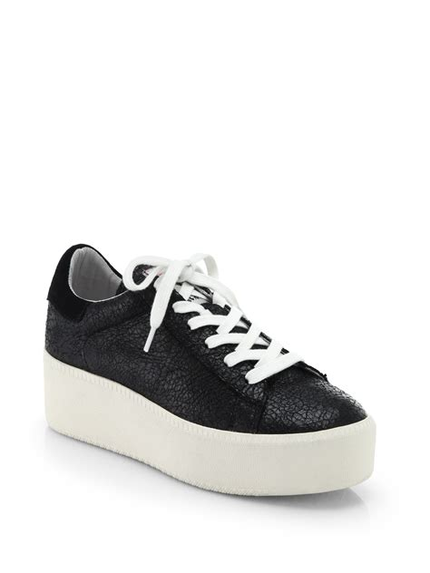 leather platform sneakers lyst ash cult pebbled leather platform sneakers in black