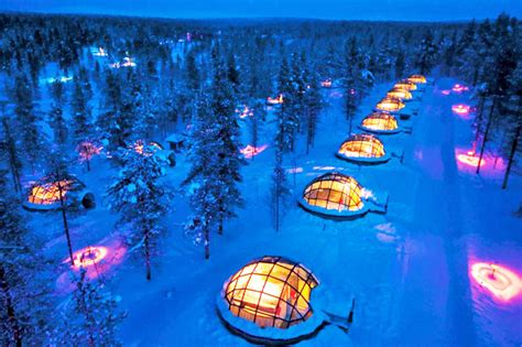 thermal glass igloos offer views of the northern lights at