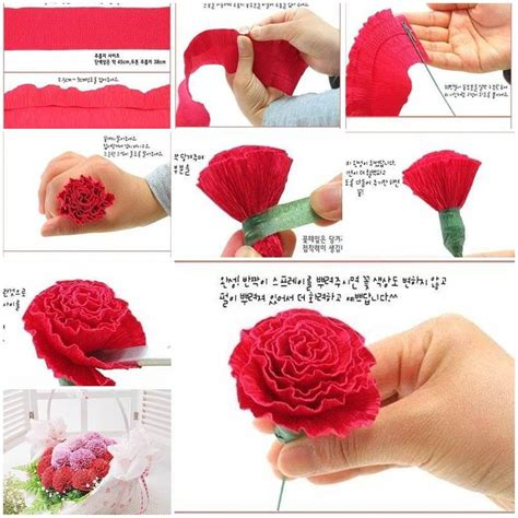 How To Make Flower Made Of Crepe Paper - diy beautiful crepe paper carnation crepe paper flowers