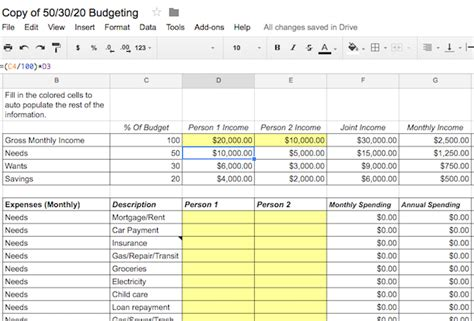 50 30 20 Budget Template Get Back On Track With These 5 Great Budget Calculators
