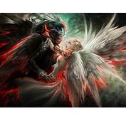 Angel And Demon Mask Couple Wings Orginal Hd Wallpaper